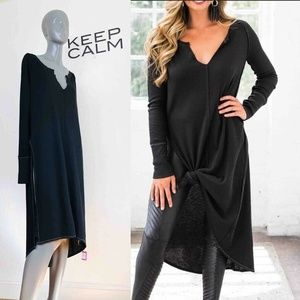 Free People Super Sonic Thermal Knit Tunic Black S
